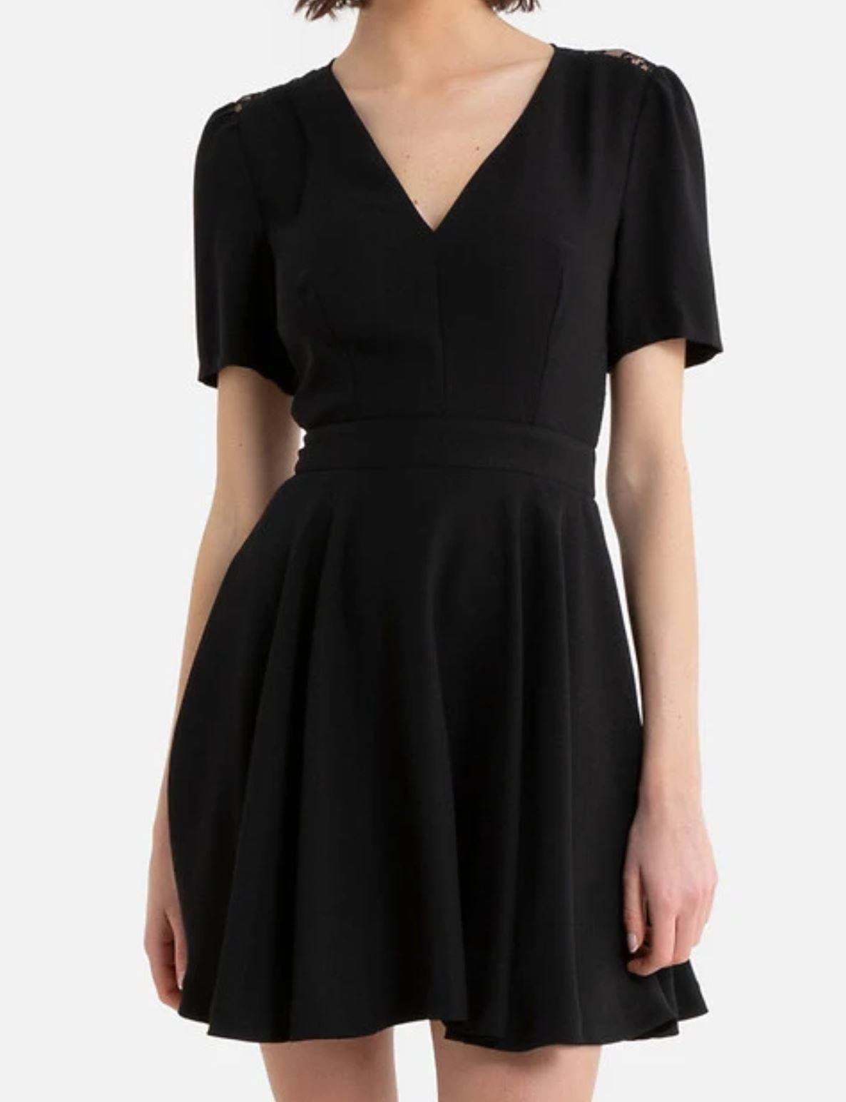 robe-courte-noire-col-v